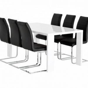 Rönne Pöytä 160 Valkoinen + 6 EmÅn Tuolia Musta