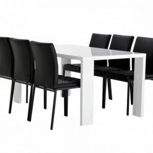 Rönne Pöytä 160 Valkoinen + 6 Ljusnan Tuolia Musta