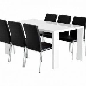 Rönne Pöytä 160 Valkoinen + 6 Nybro Tuolia Musta