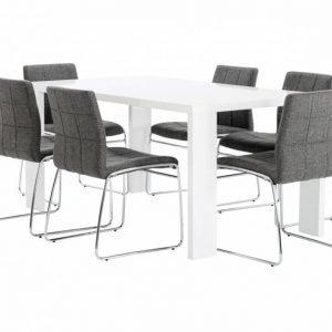 Rönne Pöytä 160 Valkoinen + 6 Viskan Tuolia Harmaa