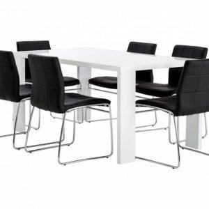 Rönne Pöytä 160 Valkoinen + 6 Viskan Tuolia Musta