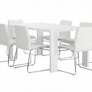 Rönne Pöytä 160 Valkoinen + 6 Viskan Tuolia Valkoinen