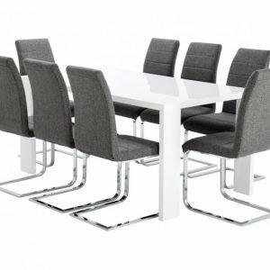 Rönne Pöytä 160 Valkoinen + 8 EmÅn Tuolia Harmaa