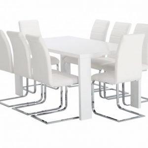 Rönne Pöytä 160 Valkoinen + 8 EmÅn Tuolia Valkoinen