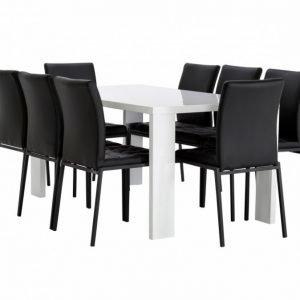 Rönne Pöytä 160 Valkoinen + 8 Ljusnan Tuolia Musta