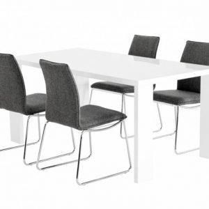 Rönne Pöytä 160 Valkoinen + Ljungan Tuolia Harmaa