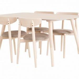 Rava Pöytä 150 Luonnonvärinen + 4 Tuolia Vaaleanharmaa
