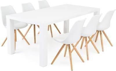 Ruokailuryhmä Aaron 6:lla Johnny tuolilla valkoinen/luonnonväri