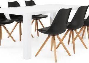 Ruokailuryhmä Aaron 6:lla Johnny tuolilla valkoinen/musta/luonnonväri