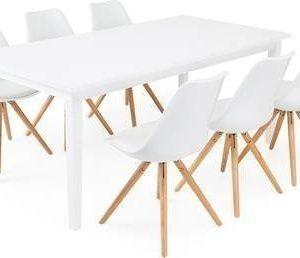 Ruokailuryhmä Aaron 6:lla Thomas tuolilla valkoinen/luonnonväri