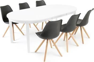 Ruokailuryhmä Aaron/Arja 6 tuolia valkoinen/musta