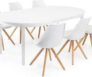 Ruokailuryhmä Aaron/Arja 6 tuolia valkoinen/tammi