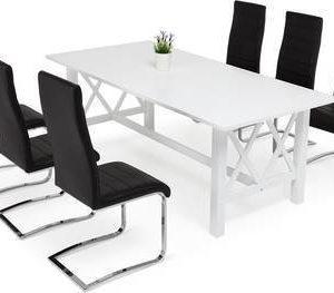 Ruokailuryhmä Amanda Johnny tuoleilla keinonahka valkoinen/musta