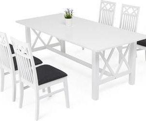 Ruokailuryhmä Amanda Thomas tuoleilla valkoinen kankaalla verhoillut tuolit
