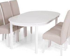 Ruokailuryhmä Arja 6 Sabina tuolilla valkoinen/beige