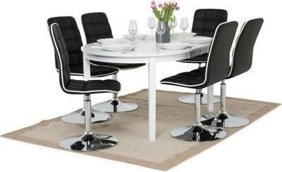 Ruokailuryhmä Arja 6:lla Siw tuolilla valkoinen/musta