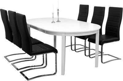 Ruokailuryhmä Arja pöytä ja 6:lla Johnny tuolilla valkoinen/musta