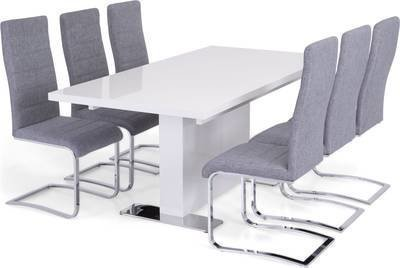 Ruokailuryhmä Hans Johnny tuoleilla valkoinen/harmaa