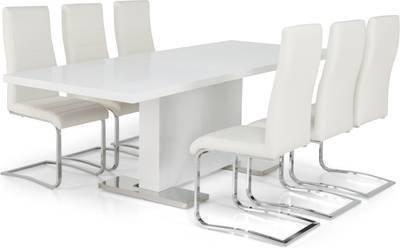 Ruokailuryhmä Hans/Johnny 6 Johnny-tuolia valkoinen