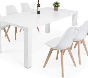 Ruokailuryhmä Johnny 6:lla Anki tuolilla valkoinen/luonnoväri