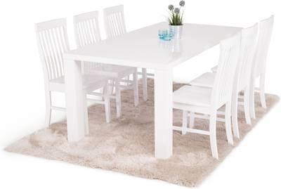 Ruokailuryhmä Johnny 6:lla Ann-Christine tuolilla valkoinen