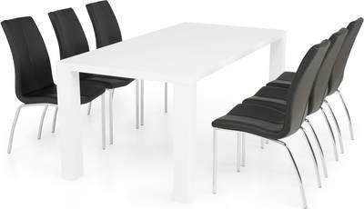 Ruokailuryhmä Johnny 6:lla Anni tuolilla valkoinen/musta