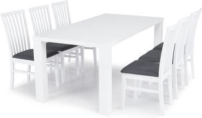 Ruokailuryhmä Johnny 6:lla Arja tuolilla valkoinen/harmaa