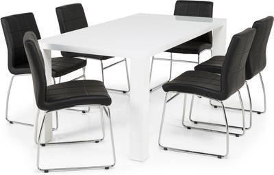 Ruokailuryhmä Johnny 6:lla Felix tuolilla valkoinen/musta