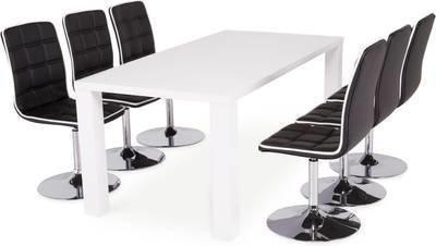 Ruokailuryhmä Johnny 6:lla Siw tuolilla valkoinen/musta