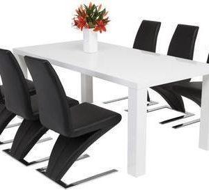 Ruokailuryhmä Johnny Hans tuoleilla 6:lla tuolia valkoinen/musta