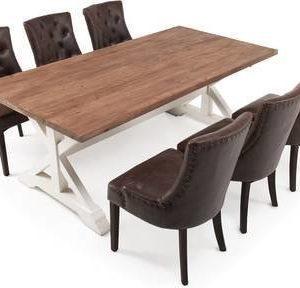 Ruokailuryhmä Kastehelmi 200x100 6:lla ruskealla Oscar tuolilla