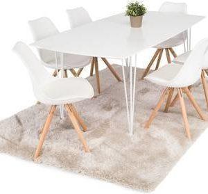 Ruokailuryhmä Marion 6 Aaron tuolilla valkoinen/tammi