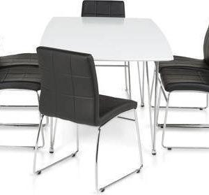Ruokailuryhmä Marion 6:lla Felix tuolilla kromijalat valkoinen/musta