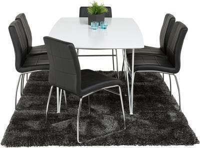 Ruokailuryhmä Marion 6:lla Felix tuolilla valkolakatut metallijalat valkoinen/musta