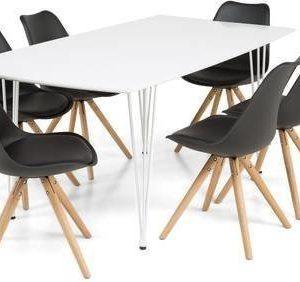 Ruokailuryhmä Marion 6:lla Forum-tuolilla valkolakatut metallijalat valkoinen/musta