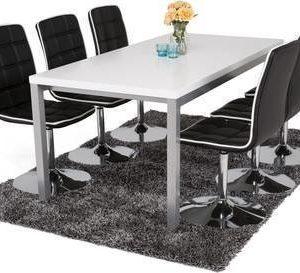 Ruokailuryhmä Melissa 6:lla Siw tuolilla valkoinen/musta/luonnonväri/hopea