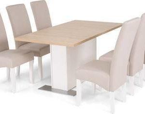 Ruokailuryhmä Ossi 6 Sabina tuolilla tammi/beige