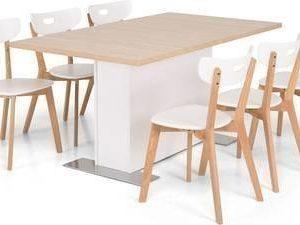 Ruokailuryhmä Ossi 6 Vieno tuolilla valkoinen/tammi