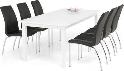 Ruokailuryhmä Thomas 6:lla Anni tuolilla valkoinen/musta