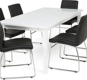 Ruokailuryhmä Thomas 6:lla Felix tuolilla valkoinen/musta