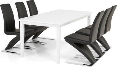 Ruokailuryhmä Thomas 6:lla Hans tuolia valkoinen/musta