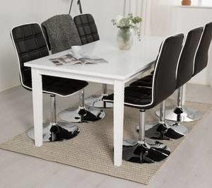 Ruokailuryhmä Thomas 6:lla Siw tuolilla valkoinen/musta