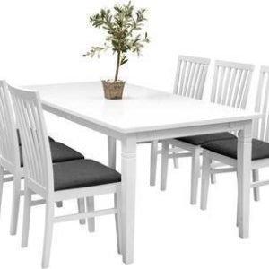 Ruokailuryhmä Thomas pöytä Arja tuoleilla valkoinen