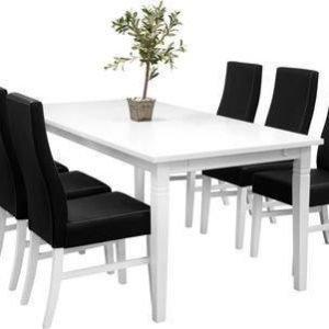 Ruokailuryhmä Thomas ruokapöytä ja 6:lla Ida tuolilla valkoinen/musta
