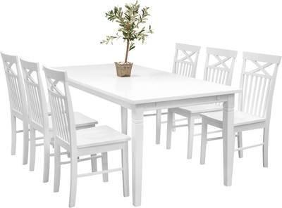 Ruokailuryhmä Thomas ruokapöytä ja Annikki tuolit valkoinen
