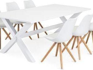 Ruokailuryhmä Tuula Aaron tuoleilla valkoinen/tammi