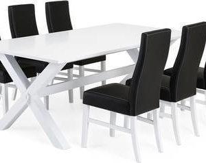 Ruokailuryhmä Tuula Ida tuoleilla valkoinen/musta
