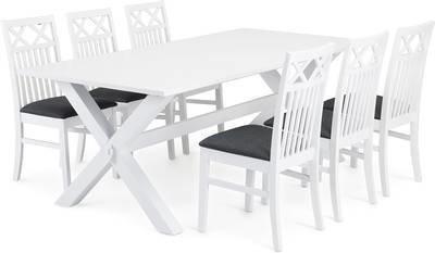 Ruokailuryhmä Tuula Thomas tuoleilla valkoinen/harmaa