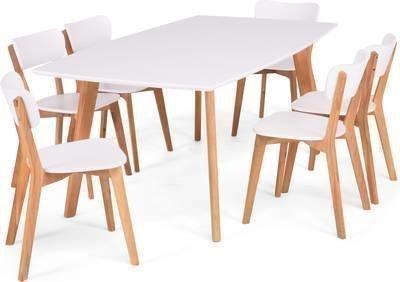 Ruokailuryhmä Vieno 6 tuolilla valkoinen/tammi