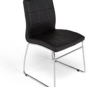 Ruokapöydän tuoli Felix musta keinonahka/kromijalat